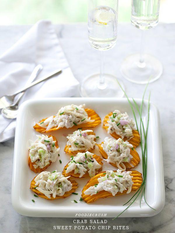 Crab Salad Sweet Potato Chip Bites