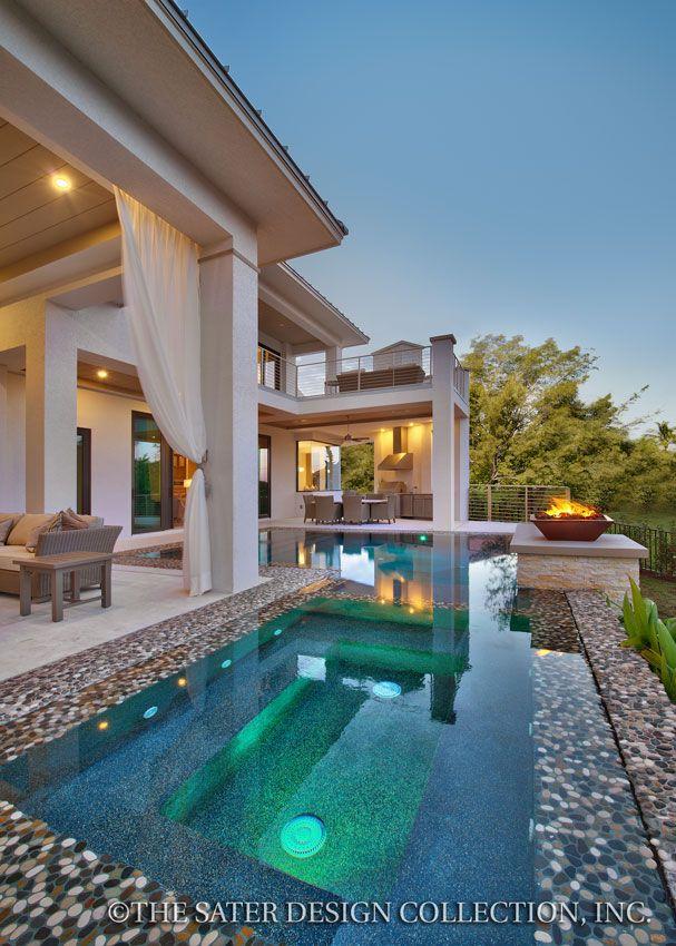 "Pool and Verandah. The Sater Design Collection's luxury, modern home plan ""Moderno"" (Plan #6967). saterdesign.com"