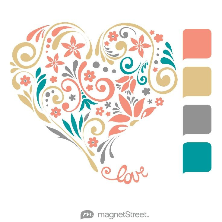 Coral, Gold, Classic Gray, and Teal Wedding Color Palette - free custom artwork created at MagnetStreet.com