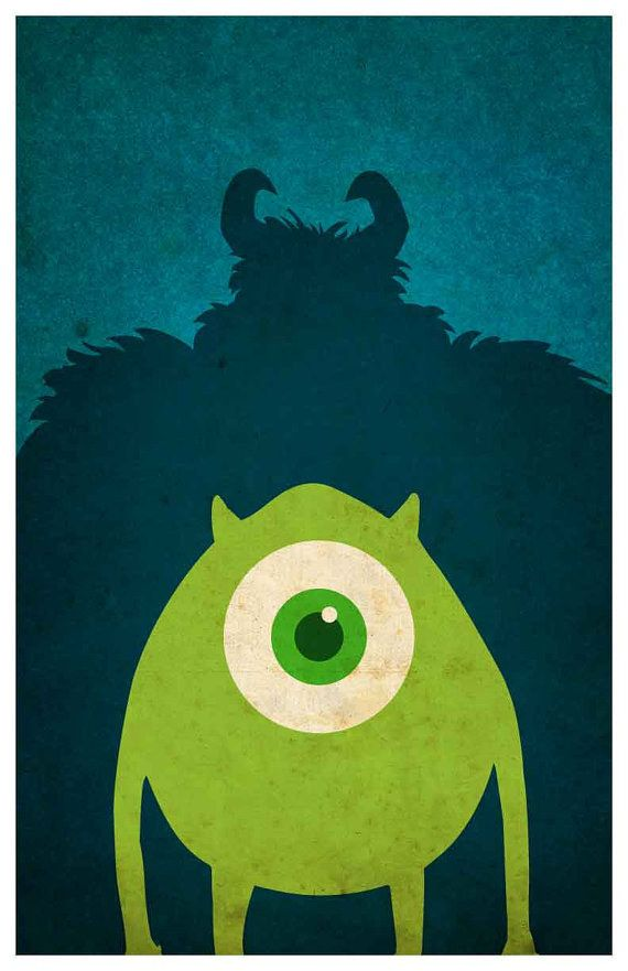 Monsters, Inc. | 28 Posters minimalistas de Disney para el cuarto del bebé