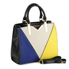 Colour Block Patchwork Handbag with Snakeskin Detail £48.00