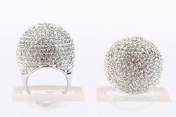 Crystal Ball Ring Silver