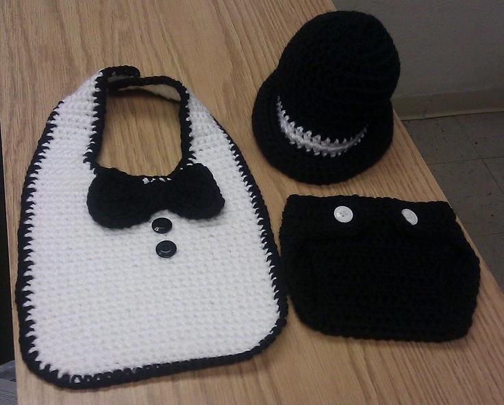 Tuxedo Bib Derby Hat Diaper Cover Love Crochet