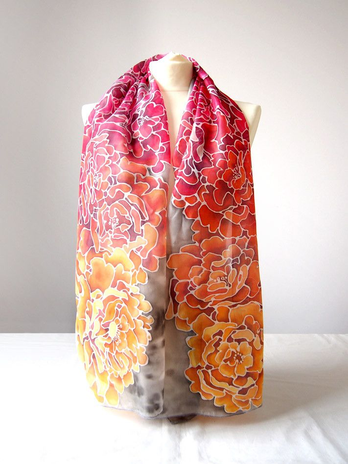 Peonies in Gray silk scarf hand painted by #minkulul On ETSY: https://www.etsy.com/listing/228501542/silk-scarf-peonies-in-gray-hand-painted