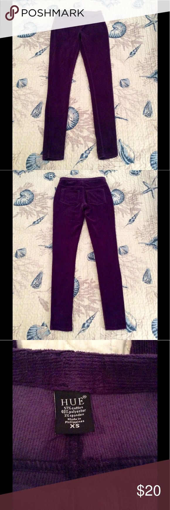"EUC Hue Corduroy Purple Leggings Excellent condition - no marks, rips, holes, piling, etc. Faux front pockets, real back pockets. Measures 36 inches long, 13"" waist, 7"" inseam. No trades. Comes from smoke & pet free home. Don't hesitate to ask any questions! HUE Pants Leggings"