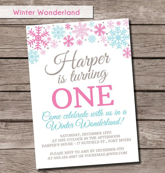 The 25 best Snowflake invitations ideas – Snowflake Birthday Invitations