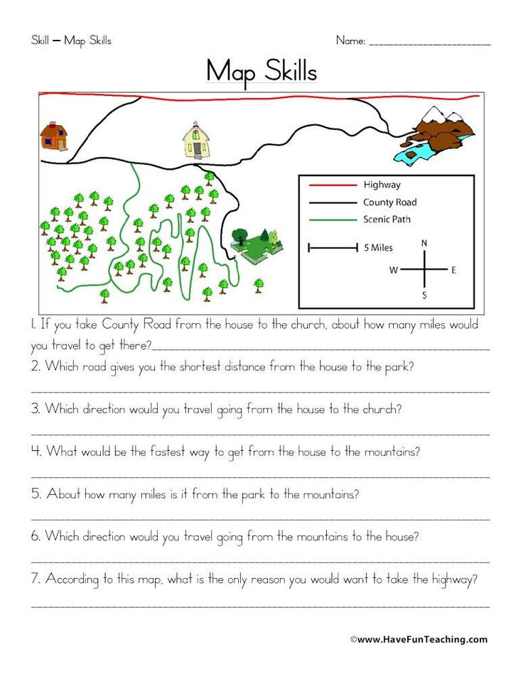 Second Grade Map Skills Worksheets Map Skills Worksheet in
