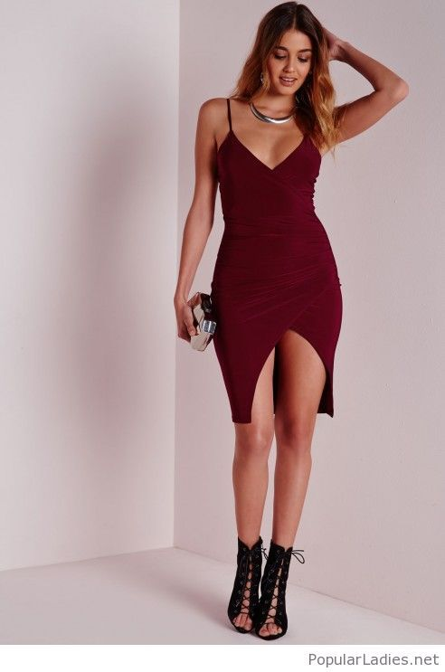 Short Burgundy Dress With Silver Accessories Fashion