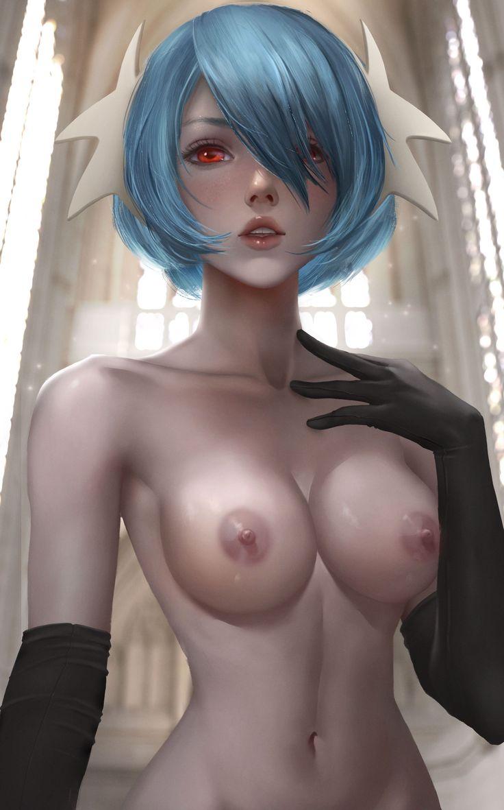 1girl areolae blue hair breasts gardevoir highres logan cure looking at viewer medium breasts navel nipples nude parted lips pokemon red eyes short hair solo - Image View - | 3970489 | Gelbooru