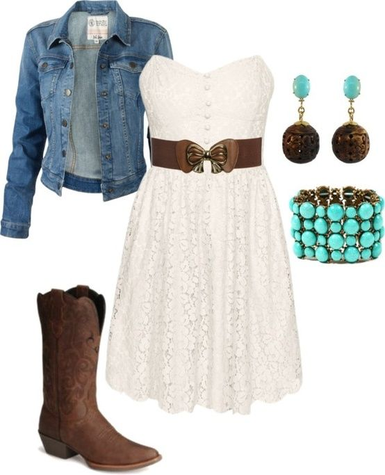 adorable teal with the denim jacket and brown cow girl/boy boots cute white dress with the belt it brings out the boots and i like how the jewerly is like that too.:)
