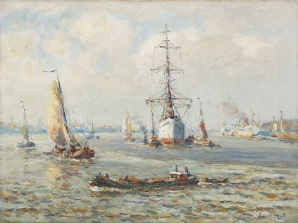 Evert Moll (1878-1955) A three-master on the Nieuwe Maas near Rotterdam, oil on canvas. Collection Simonis & Buunk, The Netherlands