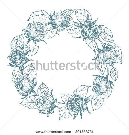 Rose wreath - elegant vector floral wreath, monochrome, no background