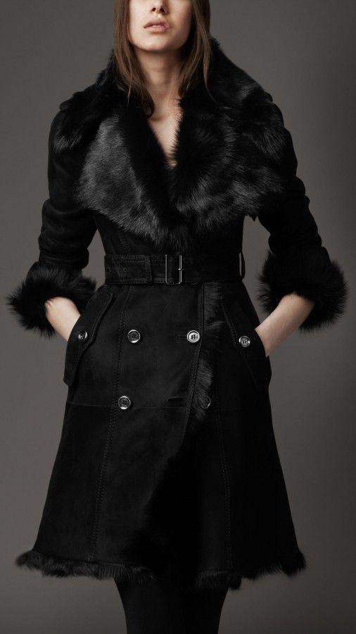 Burberry London women raglan shearling leather trench coat