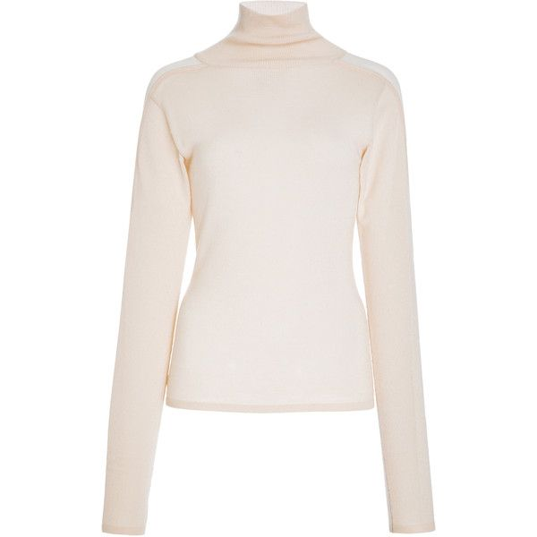 Bibhu Mohapatra Turtleneck Sweater ($1,195) ❤ liked on Polyvore featuring tops, sweaters, neutral, long sleeve sweater, pink sweater, long sleeve tops, pink turtleneck and turtle neck sweater