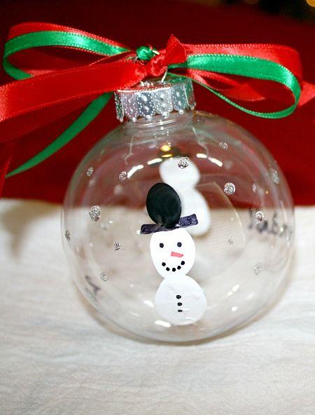 Snowman Fingerprint Christmas Ornament