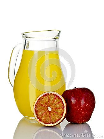 Jug  with tropical fruit juices isolated on white background.