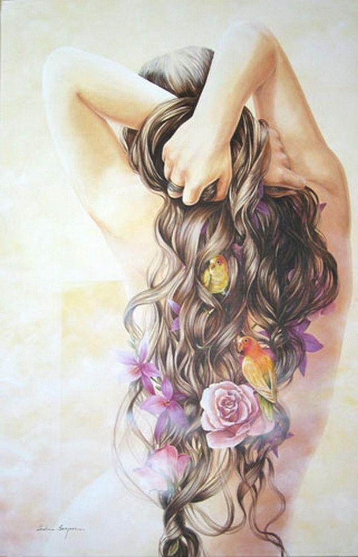 Картинка цветная девушки со спины