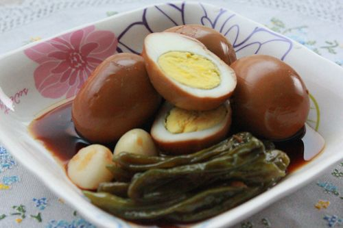 Eggs Braised in Soy Sauce with shishito peppers