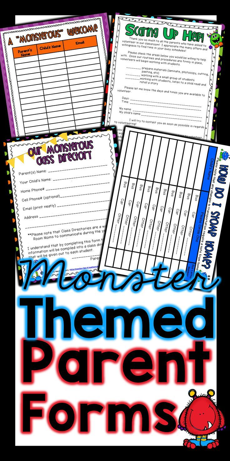Adorable themed forms perfect for back to school and open house!