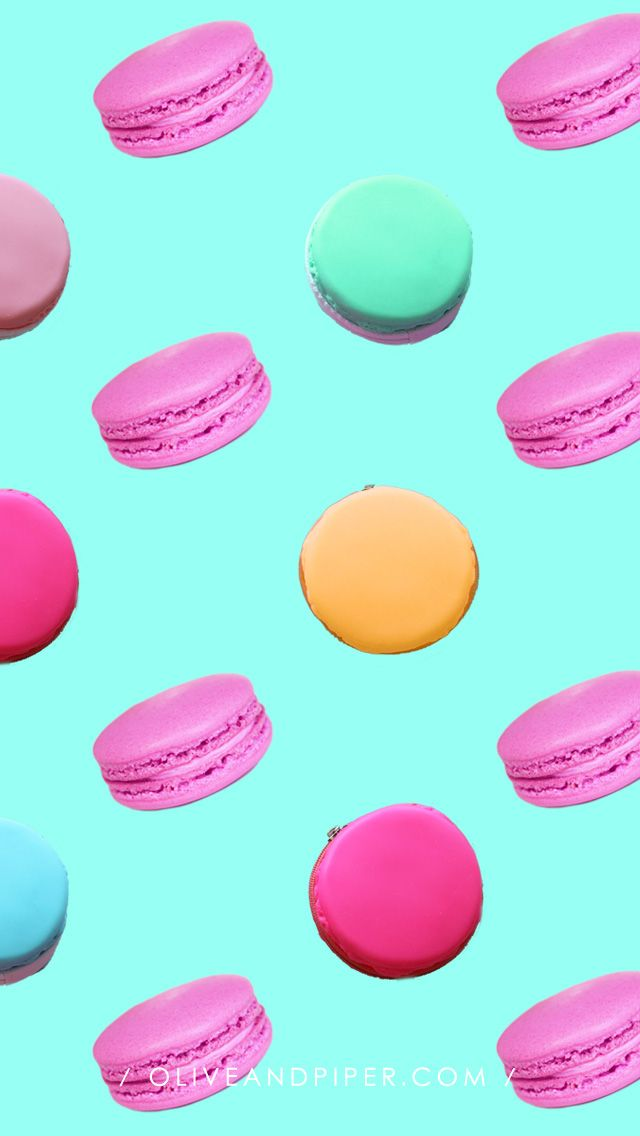 Check out this cute Macaron iPhone wallpaper collection designed by @oliveandpiper | Read more on our blog at www.preppywallpapers.com or follow us @prettywallpaper