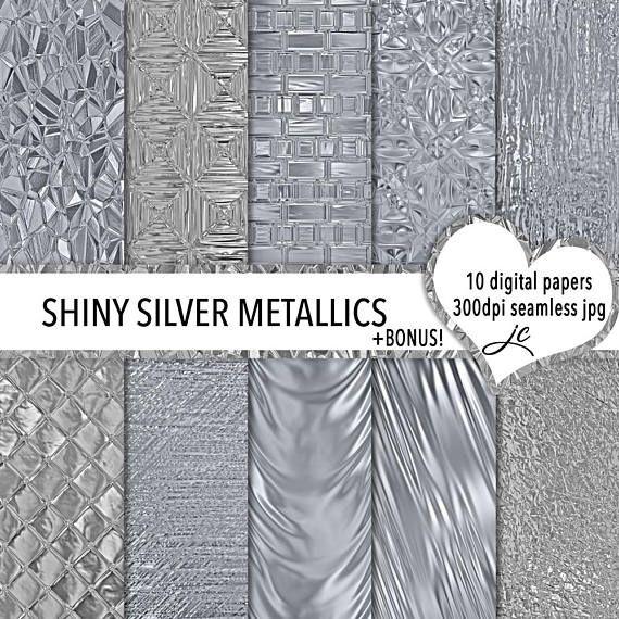 Shiny Silver Metallics Digital Papers  BONUS Photoshop