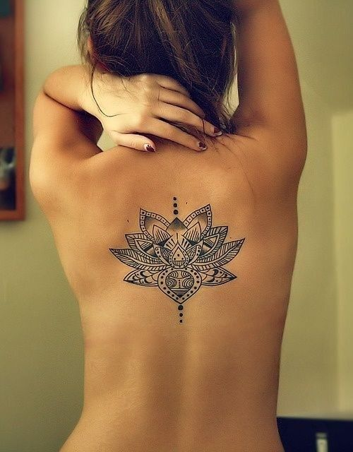 On my back I want a mandala, Sun and moon, or a cool script for quote