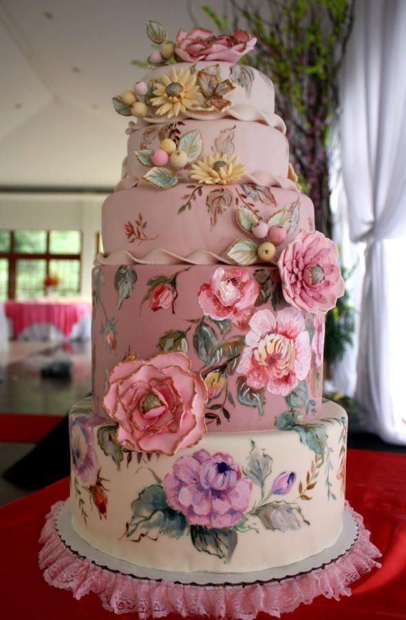 shabby chic bridal shower cakes%0A what an awesome cake for a spring or summer wedding   I want to work