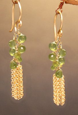 Venus 134 Idocrase chain earrings by CalicoJunoJewelry on Etsy