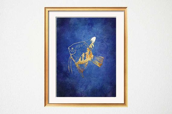 Fish Wall Art, Beach Bathroom Art, Lake House Art, Blue Gold Decor, Chinoiserie Chic, Cobalt Navy Blue Fish Illustration Beach House Gallery