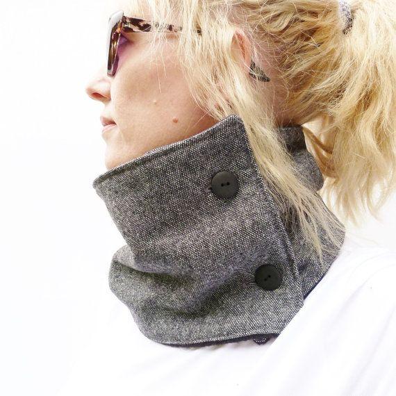 Women's Neckwarmer Scarf  Black/Grey Tweed and by moaningminnie, $29.50
