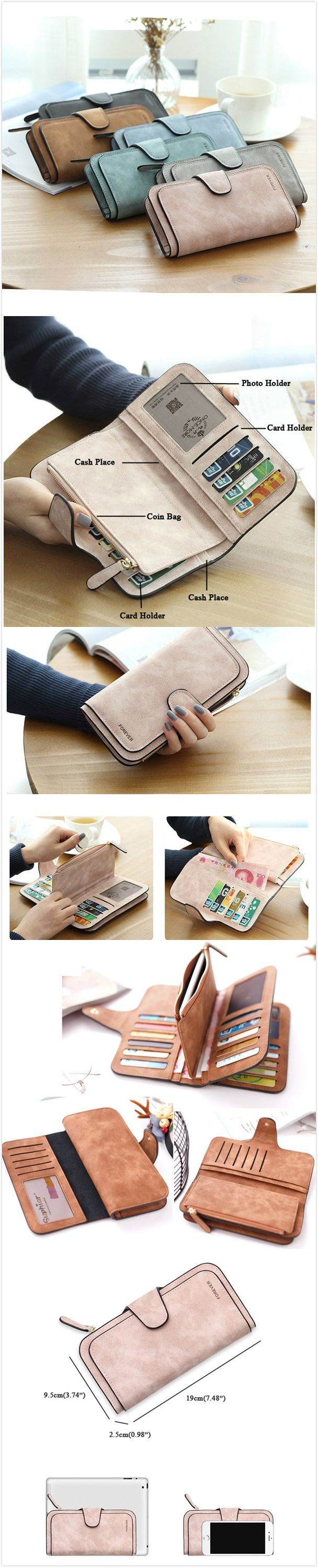 [$ 12.09]   Woman Four Fold Wallet Purse PU Card Bag Multi-Card Slots Phone Bag