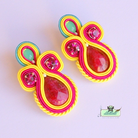 Soutache Earrings- in hot pink, neon yellow-Swarovski