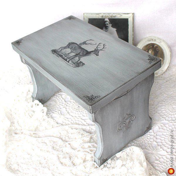 """Банкетка """"Grey French"""" ( скамейка, декупаж) - Авторская работа, стулья и табуреты ручной работы. МегаГрад - online выставка-продажа авторской ручной работы"""