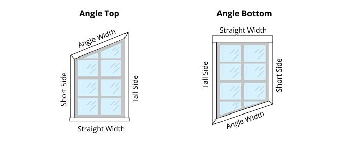 How To Measure For Angle Top And Angle Bottom Windows Blinds Com Angled Tops Diy Window Treatments Diy Drapes