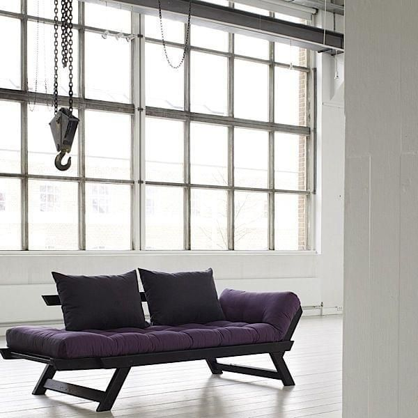 ALULA, a comfortable sofa, chaise longue, convertible in extra bed - including futon and 2 cushions - deco and design