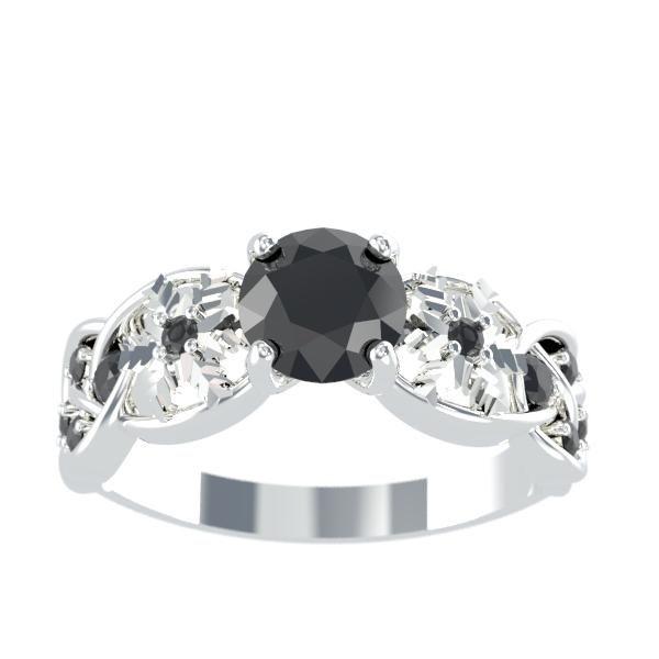 1 0 Carat Black Diamond Engagement Ring 14k White Gold 0 16 Ctw Diamond Black Diamond Ring Engagement Sapphire Engagement Ring Blue Unique Diamond Engagement Rings