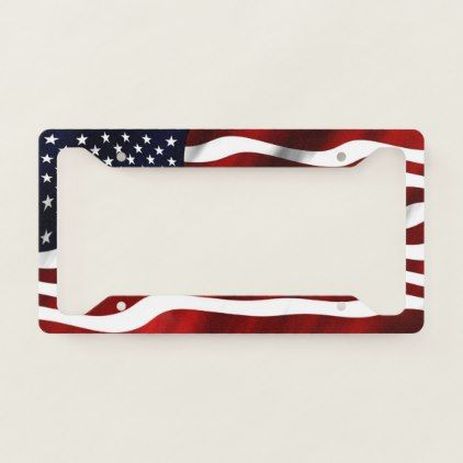American Flag Old Glory License Plate Frame - diy cyo customize create your own personalize