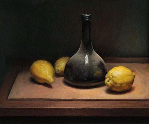 Lemon still life, painting by artist Jos van Riswick