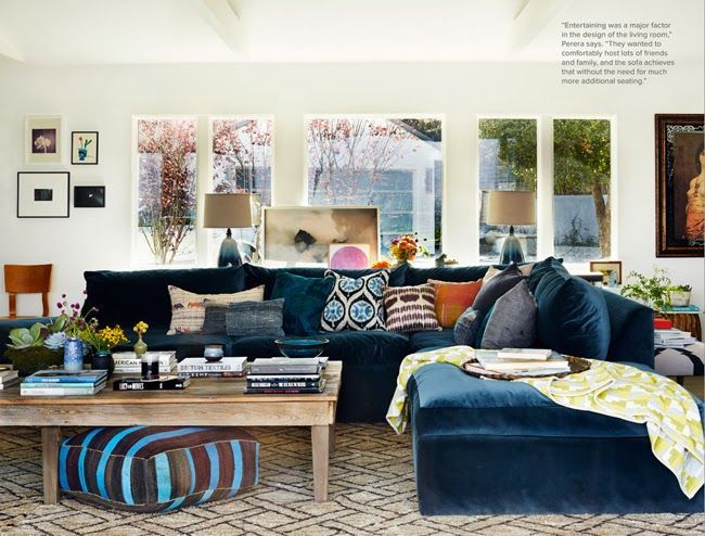 Attractive Navy Blue Velvet Sectional Sofa
