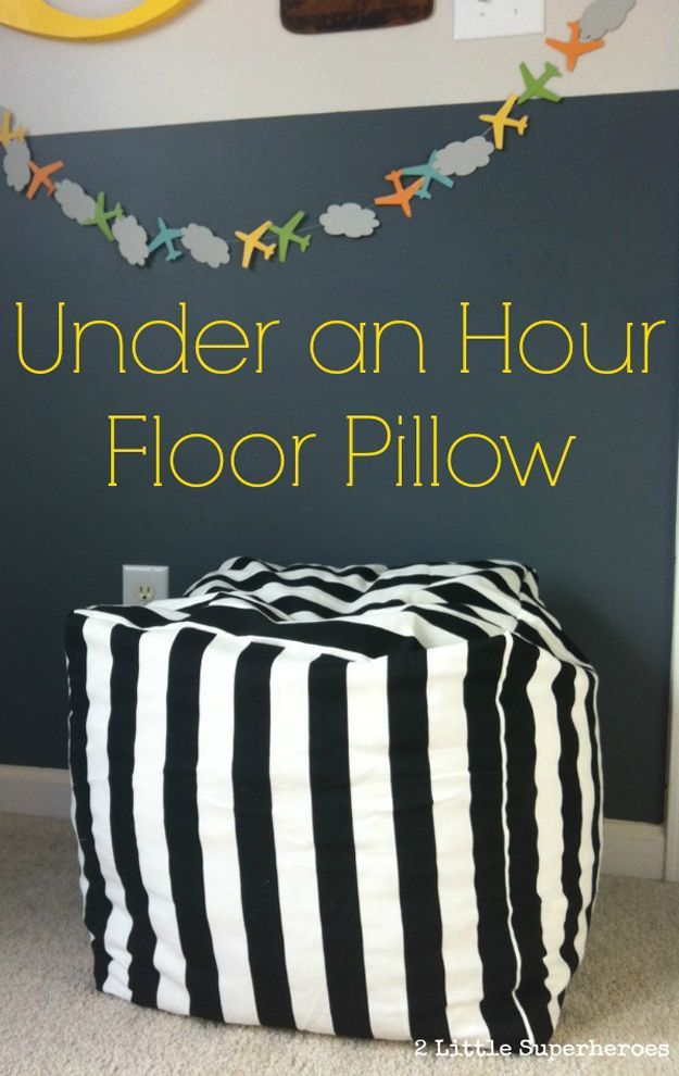 Under an Hour Floor Pillow DIY | Easy DIY Home Decor Project on a Budget by DIY Ready at http://diyready.com/diy-home-decor-under-an-hour/