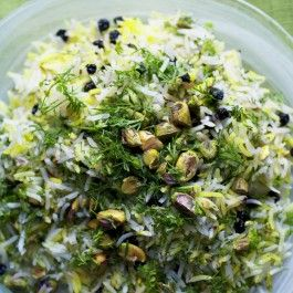 Saffron rice with barberries, pistachio and mixed herbs