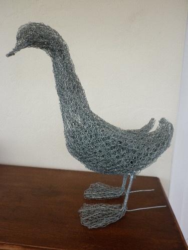 Handcrafted galvanised chicken wire standing duck garden sculpture