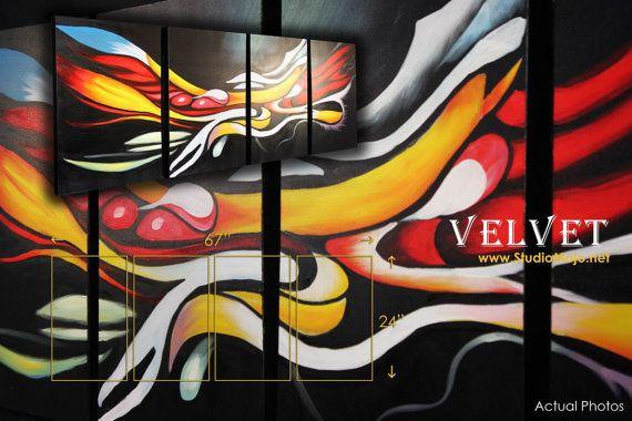 "Large Graffiti Wall Art Deco Acrylic Painting 65"", Black Graffiti Canvas Art, White Red Yellow Quadriptych Textured Canvas Home Wall Decor"