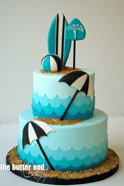 Surf's up at the beach cake - For all your cake decorating supplies, please visit craftcompany.co.uk