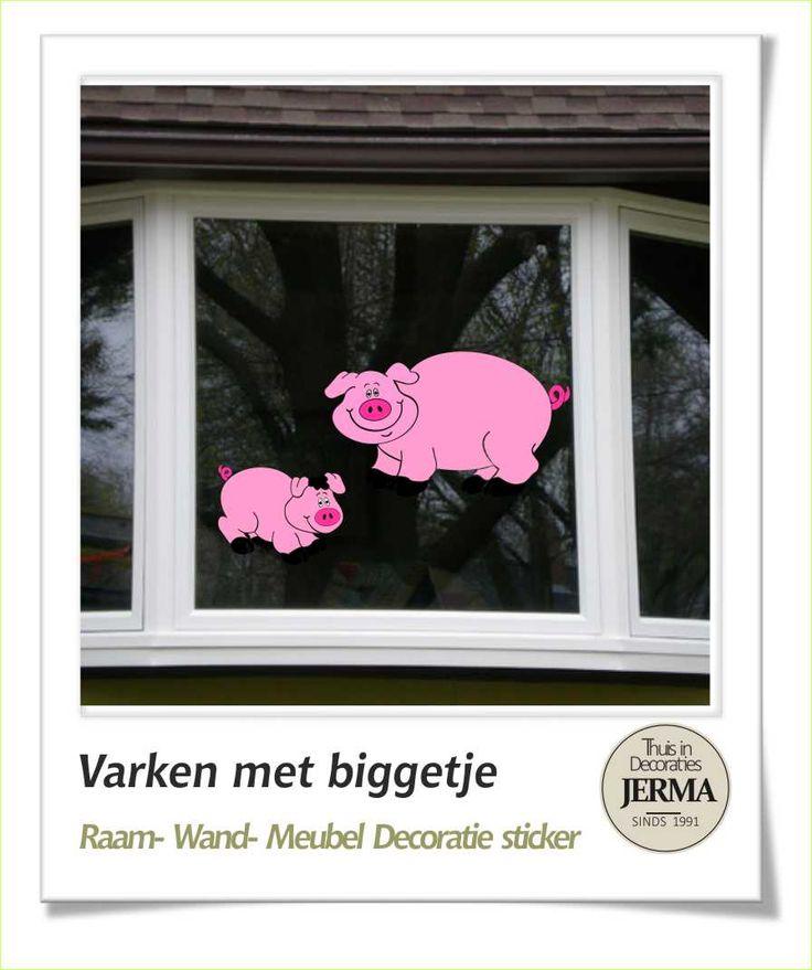 #varken #raamsticker de kinderkamer kun je natuurlijk ook een #boerderij thema geven de #jerma decoratie #stickers lenen zich er goed voor