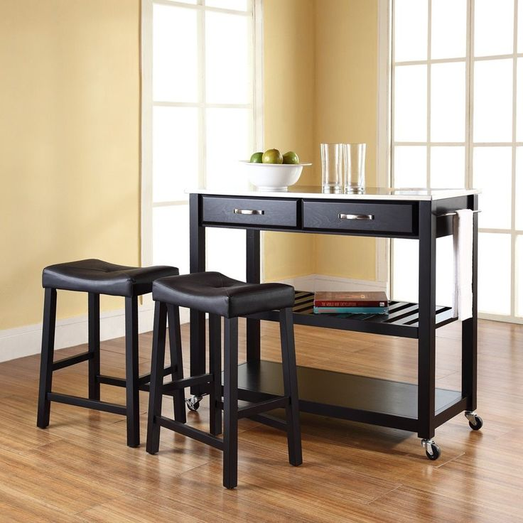 Crosley Furniture Stainless Steel Top Kitchen Cart/Island with 24-inch Upholstered Saddle Stools