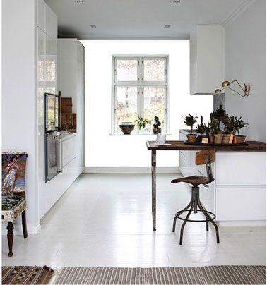 cuisine design meubles et sol blanc peinture gris souris
