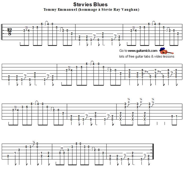 Flatpicking blues tab - Stevie's Blues - Tommy Emmanuel - Steve Ray Vaughan