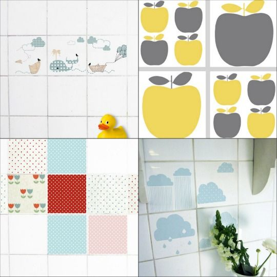 How To Put Up Tiles In A Bathroom: Decals For Tiles.. Idea For Covering Up Ugly Bathroom Tile
