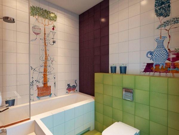 Jeu de couleurs salle de bain des enfants bruns verts